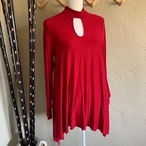 Boston Proper Red Keyhole Mock Neck Tunic Top